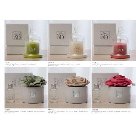 candela con cupolina in vetro con scatola linea Fragranza (A1001-7)