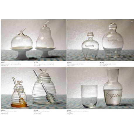 """bottiglia in vetro con scritta """"ACQUA"""" e bicchiere linea Trasparenze (A1207)"""