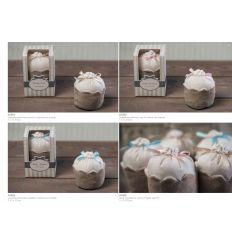 Cupcake profumato con fiocco avorio in cotone con scatola linea Cupcake (A1501)