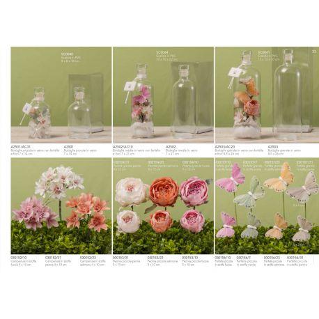 Bottiglia in vetro piccola decorata con farfalle e fiori linea Messaggi D'amore (A2501-AC)