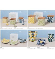 Barattolo quadrato grande in ceramica decorata in 3 colori assortiti con tappo in legno linea Positano (A2802)