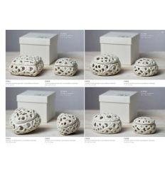 Scatola quadrata piccola in porcellana bianca traforata linea Little Box (P3905)