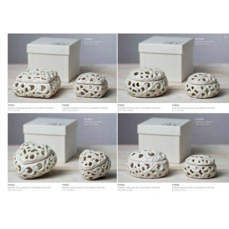 Scatola ovale piccola in porcellana bianca traforata linea Little Box (P3908)
