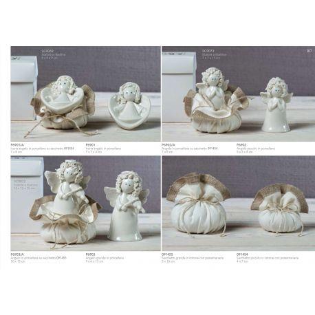 Formella in porcellana bianca a forma di cuore con angelo riccio linea White Angel (P6901)