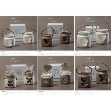 Lanterna piccola in porcellana tortora in 2 modelli assortiti linea Light Night (P7902)