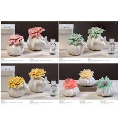 Diffusore profumatore piccolo in porcellana con farfalla e fiore verde con profumo con scatola linea Giardino Fiorito (P8203)