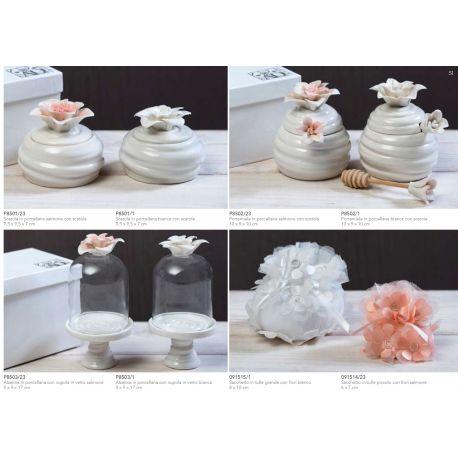 Alzatina in porcellana con cupolina di vetro con fiore color salmone con astuccio (P8503-23)