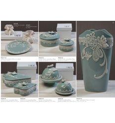 Scatola tonda piccola in porcellana con decorazionie farfalla con astuccio linea Vintage (P8602)