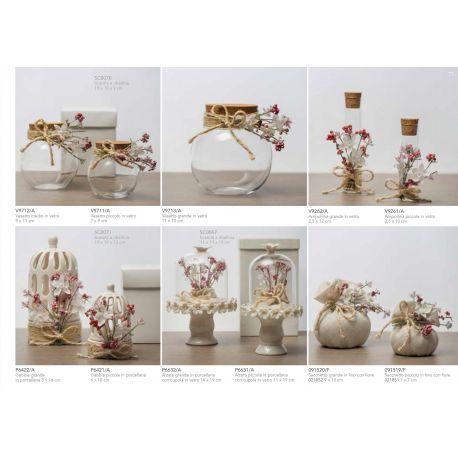 Portaconfetti Ampollina in vetro grande con tappo di sughero decorata con raffia e fiorellini linea Pepe Rosa (V9262-A)