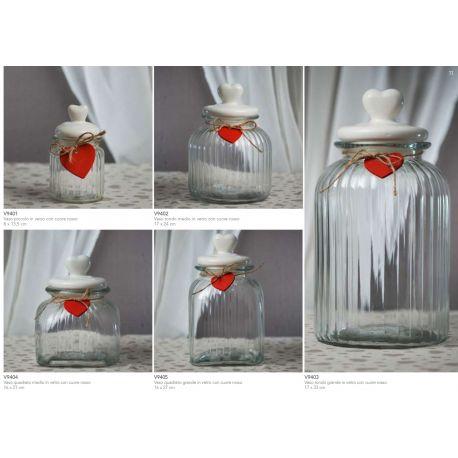 Barattolo piccolo in vetro rigato con coperchio in ceramica e cuoricino rosso in legno linea Good Morning (V9401)
