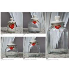 Barattolo grande in vetro rigato con coperchio in ceramica e cuoricino rosso in legno linea Good Morning (V9403)