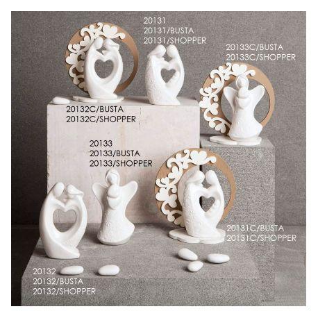 Bomboniere Legno Matrimonio.Bomboniera Matrimonio Claraluna Coppia In Porcellana Con Supporto